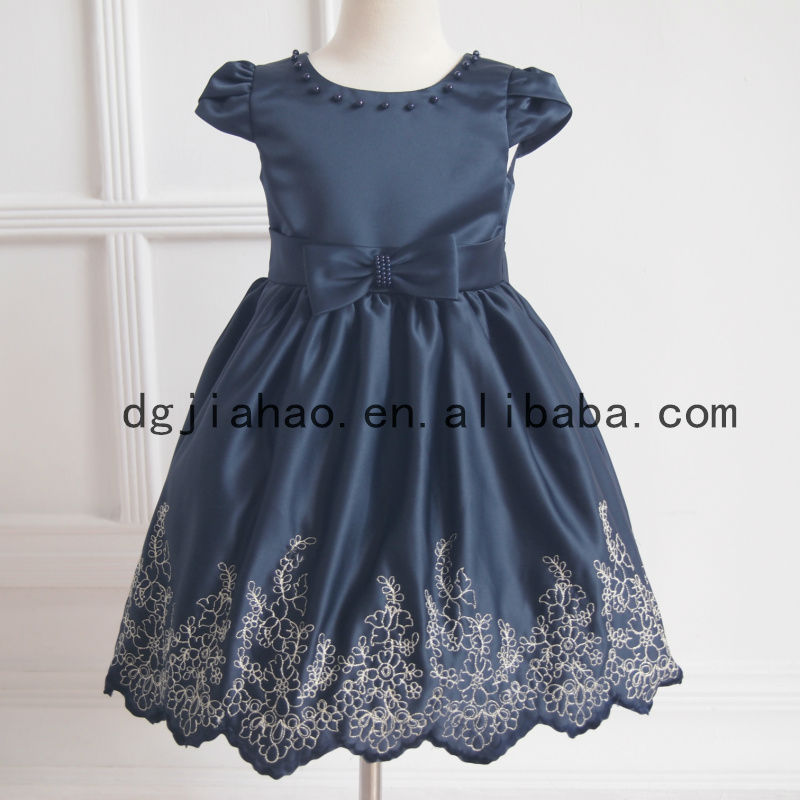 2013 new fashion gold embroidery navy blue wedding for 1-12y
