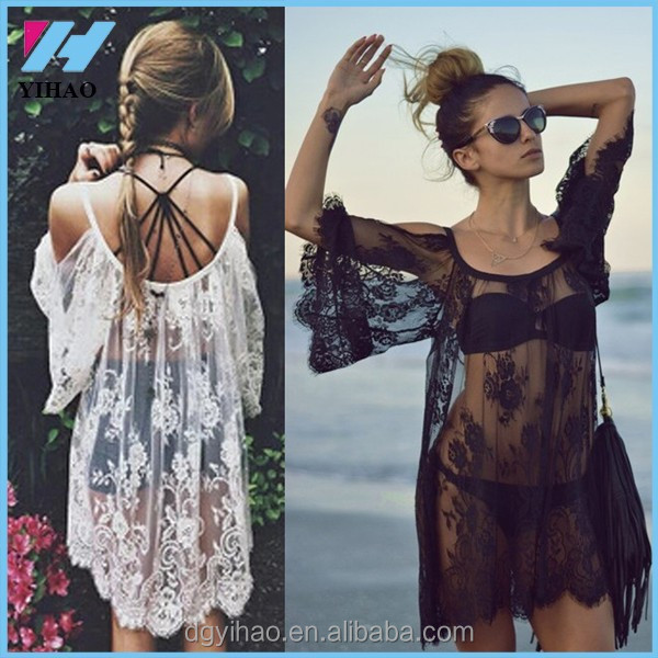 Yihao 2017 Sexy Lace Dress Floral Casual White Strap Off Shoulder Women Summer Beach Dresses, Vestido praia Femininos Beach Wear