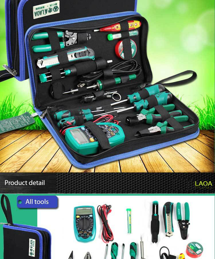 16PCS household electric soldering iron repair tool set tool bag