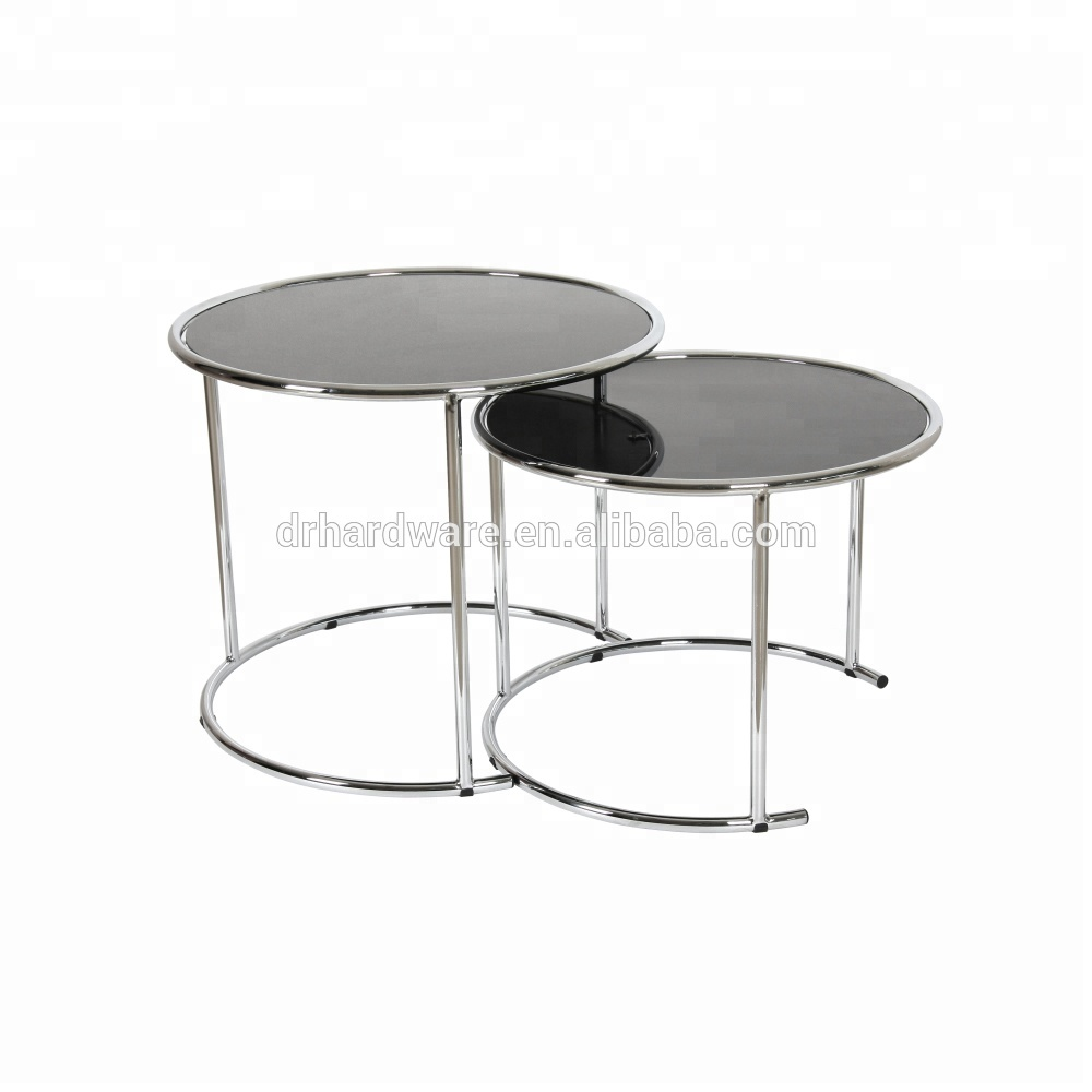 - Round Modern Set Of 2 Nest Table Glass Top Coffee Table Side Table
