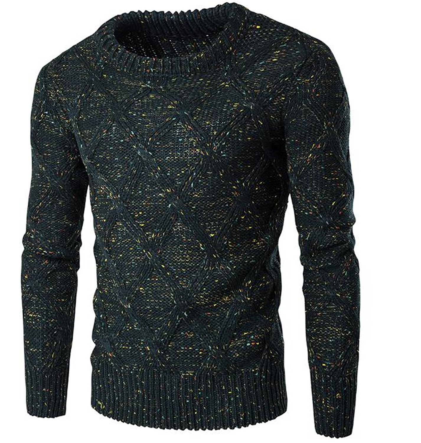 Zantt Mens Long Sleeve Pullover Slim Knit Round Neck Solid Sweater