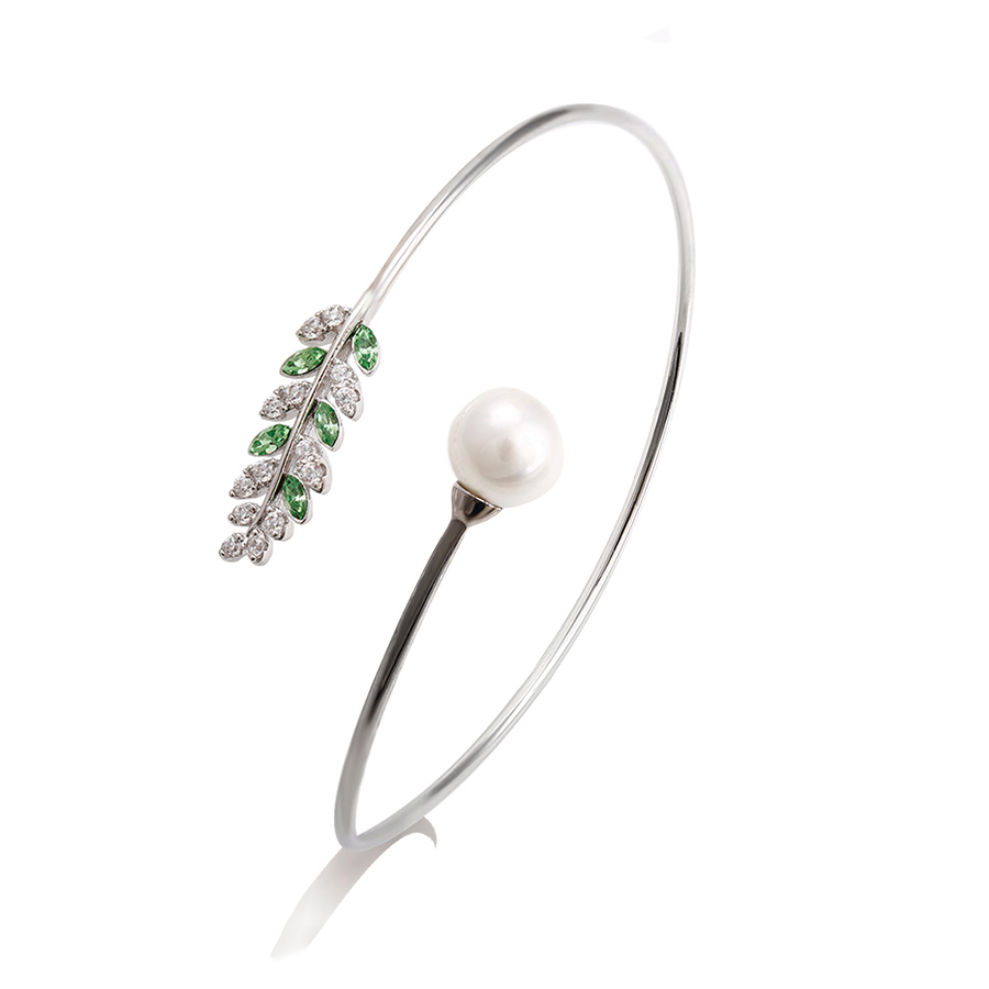 51674 Xuping leaf apple green crystals from Swarovski designer fashion fancy bangles with pearl,fashion gold bangle,jewerl