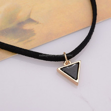 Christmas Gift Punk My Style Fashion Jewelry For Women Triangle India Faux Stone Pendant Short Black Velvet Choker Necklaces