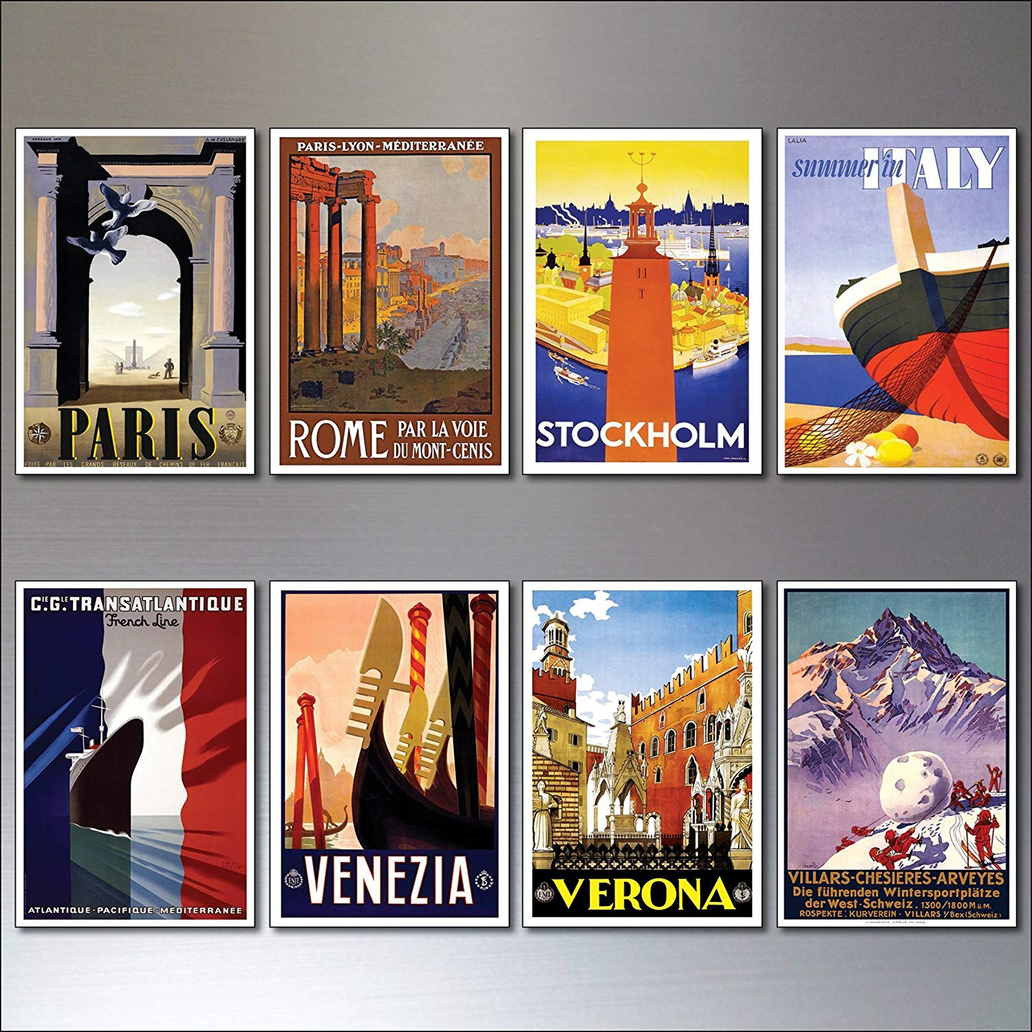 8 Vintage Travel Posters Fridge Magnets From Art Deco Period Retro Repro No 4 In Price On M Alibaba