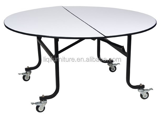 Movable Round Banquet Table With Wheels QZ6091S
