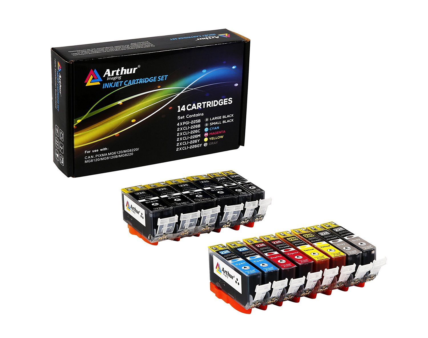 14 Pack Arthur Imaging Compatible Ink Cartridge Replacement for Canon PGI-225XL CLI-226XL (4 Large Black, 2 Small Black, 2 Cyan, 2 Yellow, 2 Magenta, 2 Gray, 14-Pack)