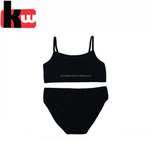 Simple Style Plain Black Color Cotton Women Underwear Bra Brief Sets