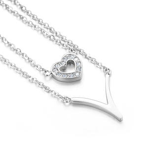 2018 Best Sale Fashion 2 Layers V Heart Shape Pendant Necklace for Women Jewelry