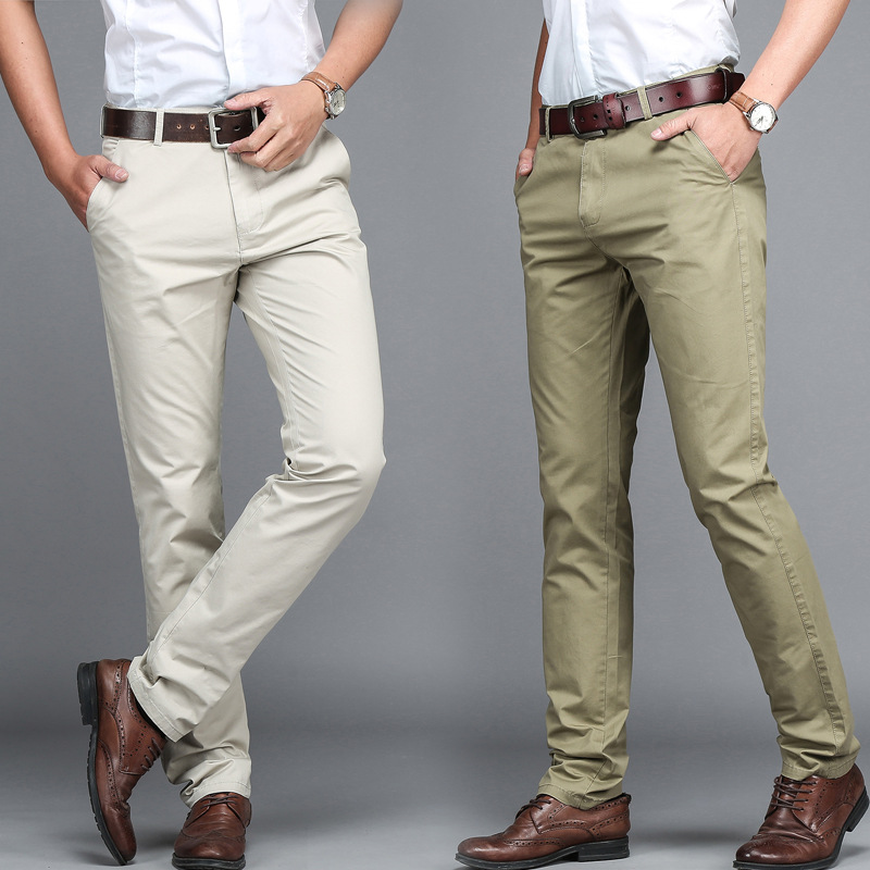 Wholesale 100% cotton Fancy Men Dress Pants New Fashion Straight Long Casual Pants Men