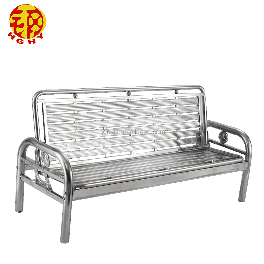 Phenomenal Stainless Steel Metal Home Use Leisure Folding Sofa Three Chair Back Bench Single Bed Buy Stainless Steel Chair Folding Chair Sofa Bed Folding Bench Andrewgaddart Wooden Chair Designs For Living Room Andrewgaddartcom