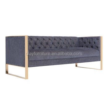 French Solid Wood Metal Chesterfield Sofa Living Room Fabric Sofa With  Metal Leg