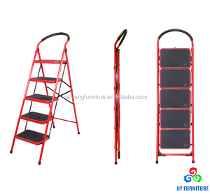 5 steps collapsible ladder metal design movable step ladder chairs wholesale