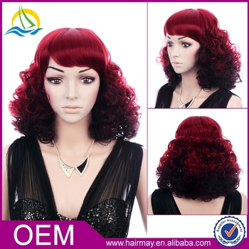 Red wine high heat-resistant women synthetic ombre big kinky curly hair  party wigs 0cc992e56f