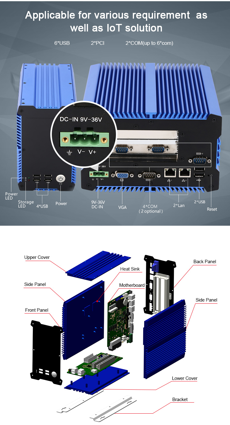 DC 9-36V wide power input multi ports RAM onboard industrial fanless embedded box pc for harsh environments