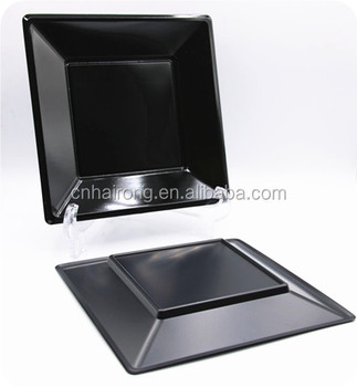 PS Material Cutlery Disposable Square Black Plastic Plates