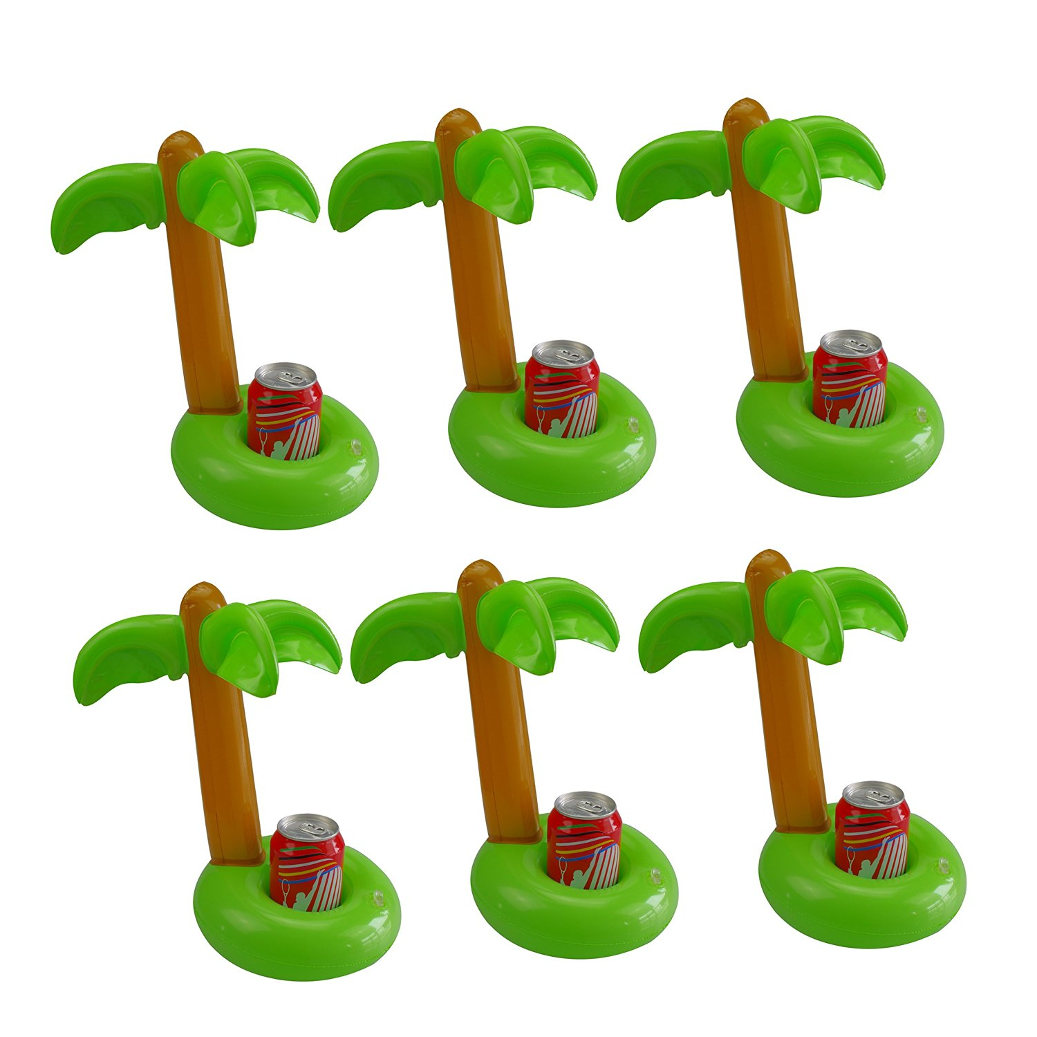 Mirenlife Inflatable Palm Island Drink Holders, Floatation Devices, Inflate Floating Coasters, 6 Pack