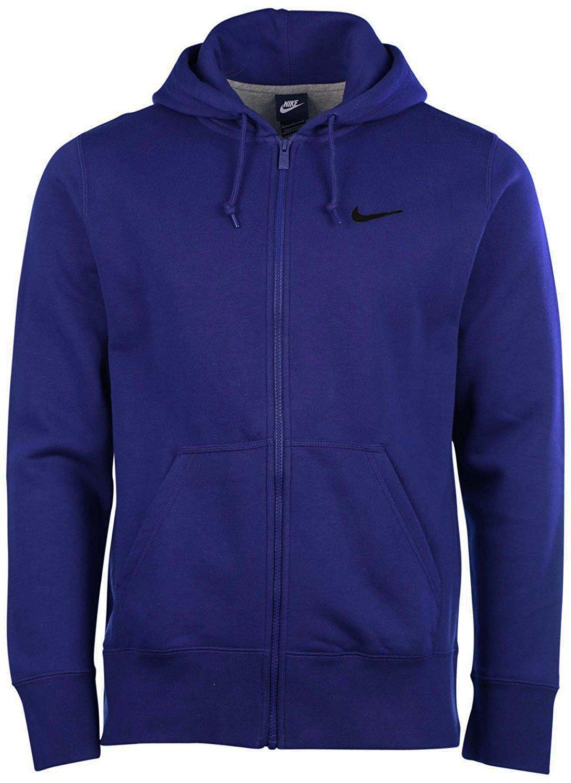 a3b1d72ed1b2 Get Quotations · Nike Men s Club Swoosh Full Zip Hoodie Deep Royal  Blue Black