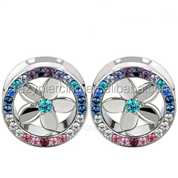 Stainless Steel With Silver Plumeria Inserts Synthetic Alexandrite ...