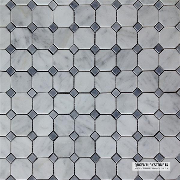 2 Quot X2 Quot Grey Mma Octagon White Carrara Marble Mosaic