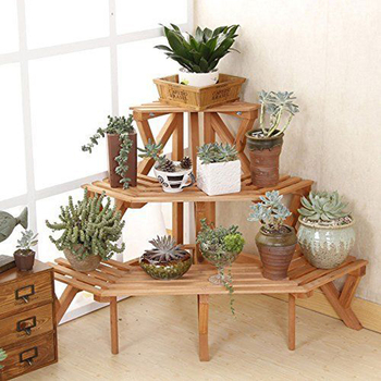 Corner Flower Pot Stand Wood 3 Tier Garden Rack Folded Plant Display