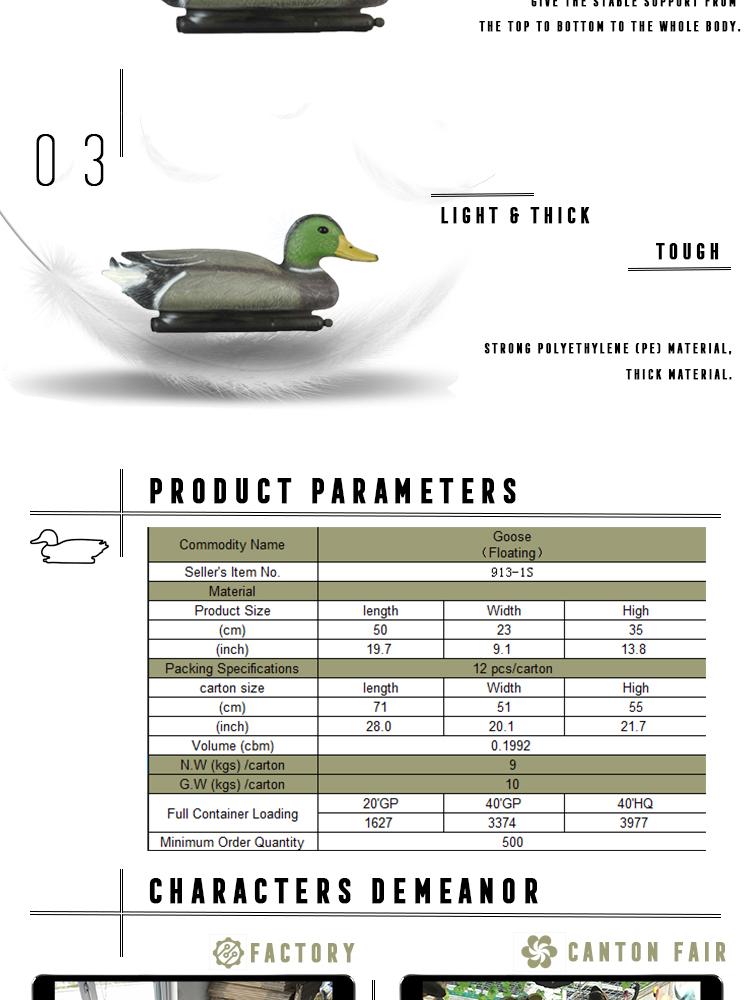 Flotante de plástico PE de ganso de Canadá señuelos a las empresas para la caza