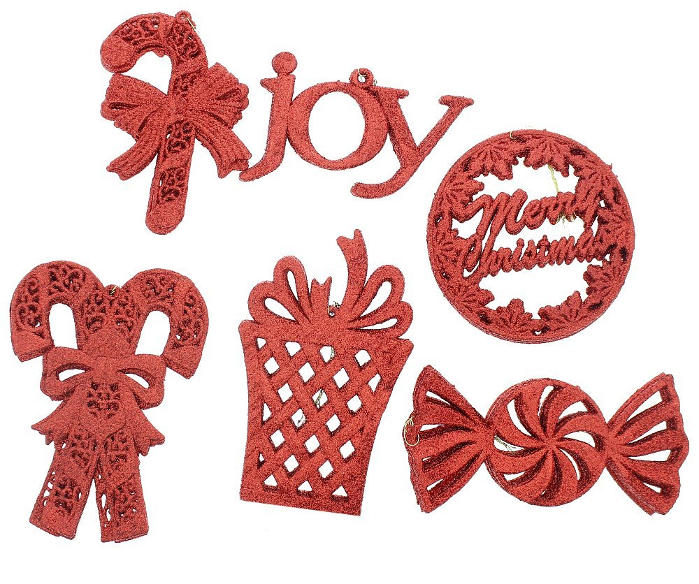 """Elegant Fancy Shatterproof Sparkling Shimmering Christmas Glitter Holiday Variety Shaped Ornaments (Candy Canes, """"Merry Christmas"""", Candy, Gift and """"Joy""""), Red, Medium, 36 Count, 6"""""""