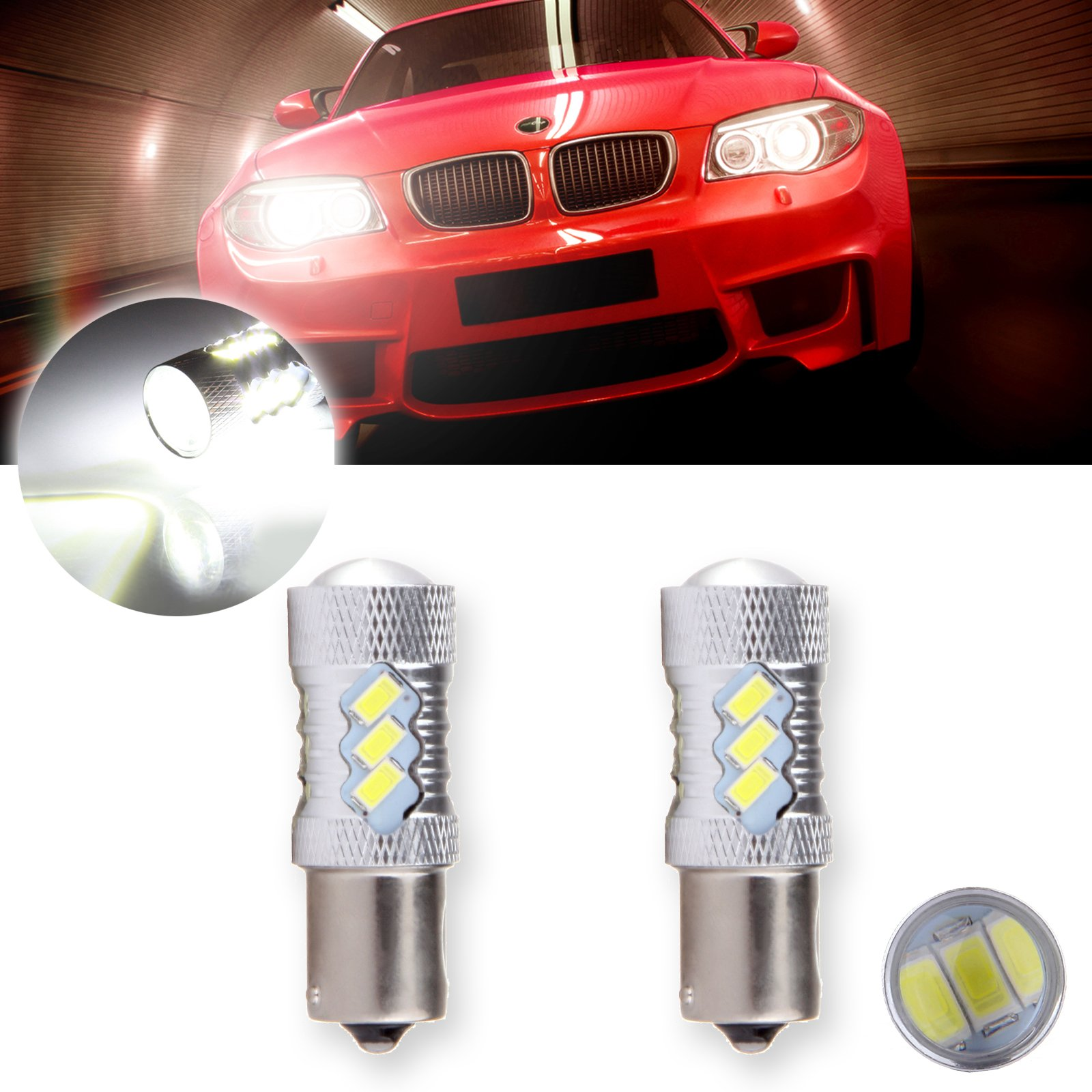 CCIYU 2 Pack Xenon White 6000K 60W 6000K Cree 1156 BA15S LED 15 5730 SMD Reverse Backup Light Bulb