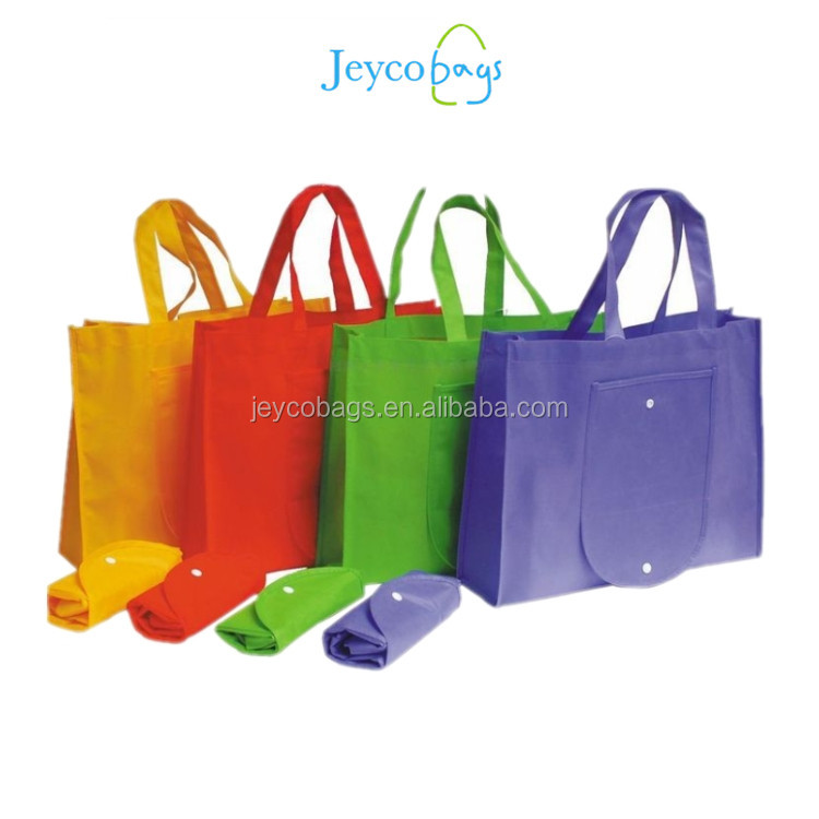 Custom logo printed non woven fabric eco shopping bag with folding into pouch