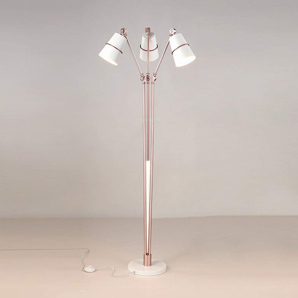 WAN SAN QIAN- Creative Postmodern Iron Floor Lamp Bedroom Study Room Parlor Art Villa 3-Head Floor Lamp Rose Gold 160x25cm Floor Lamp