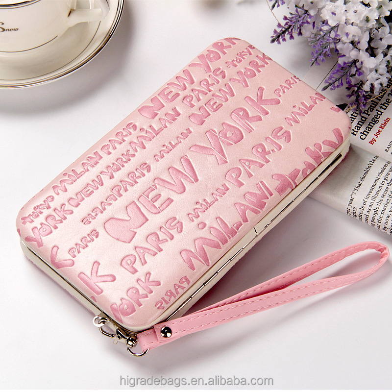 women metal frame wallet with cell phone pocket