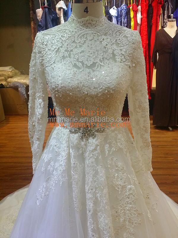 Muslim Wedding Dress Long Sleeve Corset Wedding Gown Sweep Train ...