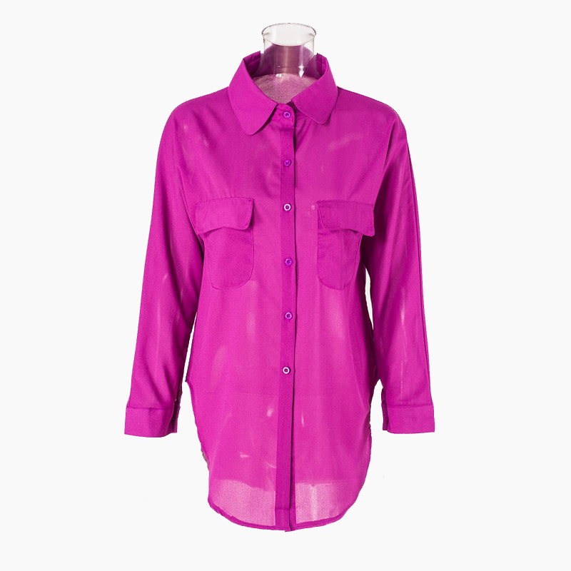 e5d76b103f7d9 Get Quotations · Summer Style 2015 Women Shirts Long Sleeve Purple White  Chiffon Blouse Office Womens Tops Blouses Cheap
