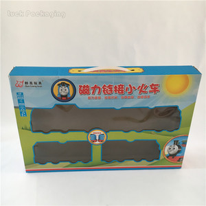 Newest Custom PVC Window Displayed Design Cardboard Printable Packaging Box For Kids Plastic Train Track Toys Games