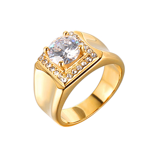 AAA Zircon Latest Men's Stainless Steel Gold Rings Design for Gifts Never Fade