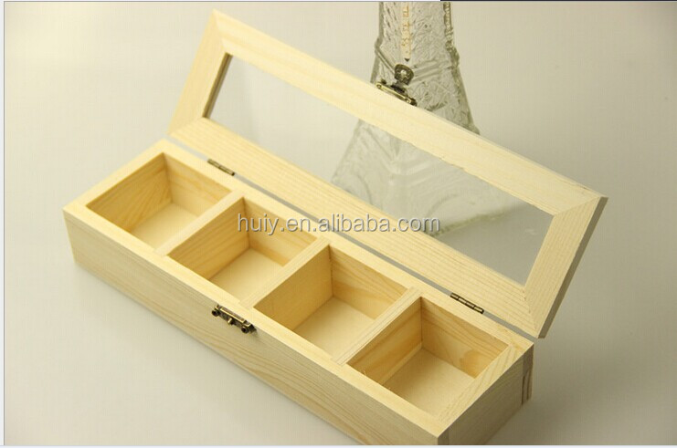 Clear Plastic Lid Wooden Storage Box With Dividers/acrylic Lid Divided Storage  Box
