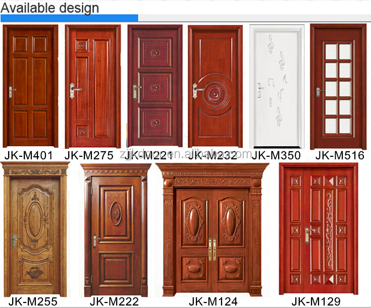 Jk m124 front double door designs used wood exterior door for Front double door designs indian houses