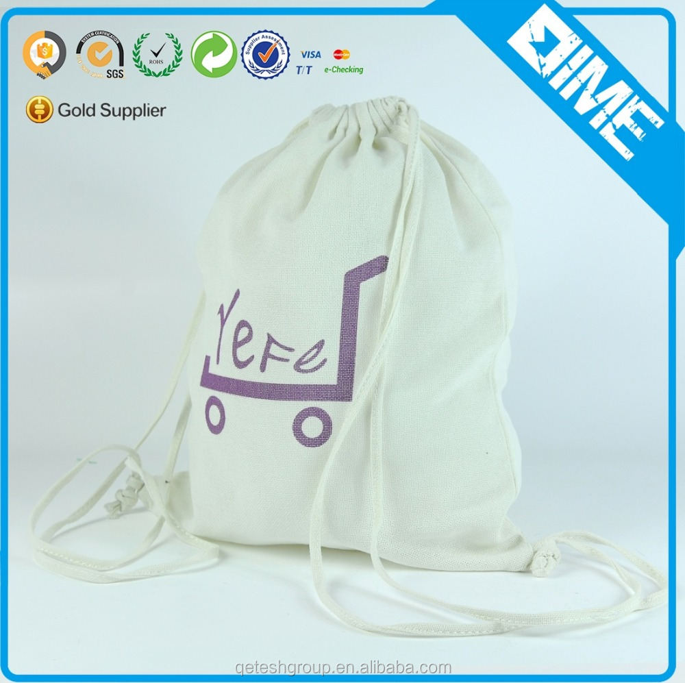 Factory Price Cotton Drawstring Canvas Bags For Cloth