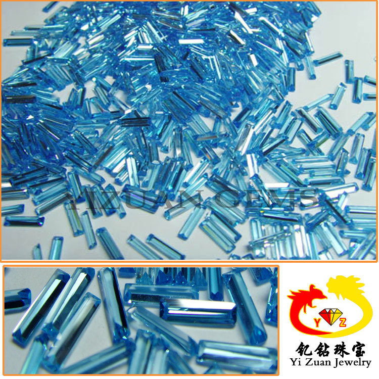 Wholesale Baguette Step cut Blue Aquamarine synthetic cubic zirconia stone