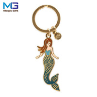Mermaid Keychain Keyrings Beach Nautical Sea Creature Shells Blue Fish Scales Charm Jewelry for Womens with Gifts Bag