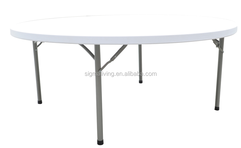 Hot sale outdoor white round blow mold plastic folding table furniture sets