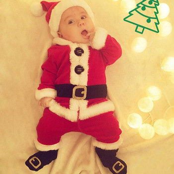 653bf93bf Baby Christmas Rompers Cute Overall Sunsuit Costume New Year Newborn ...