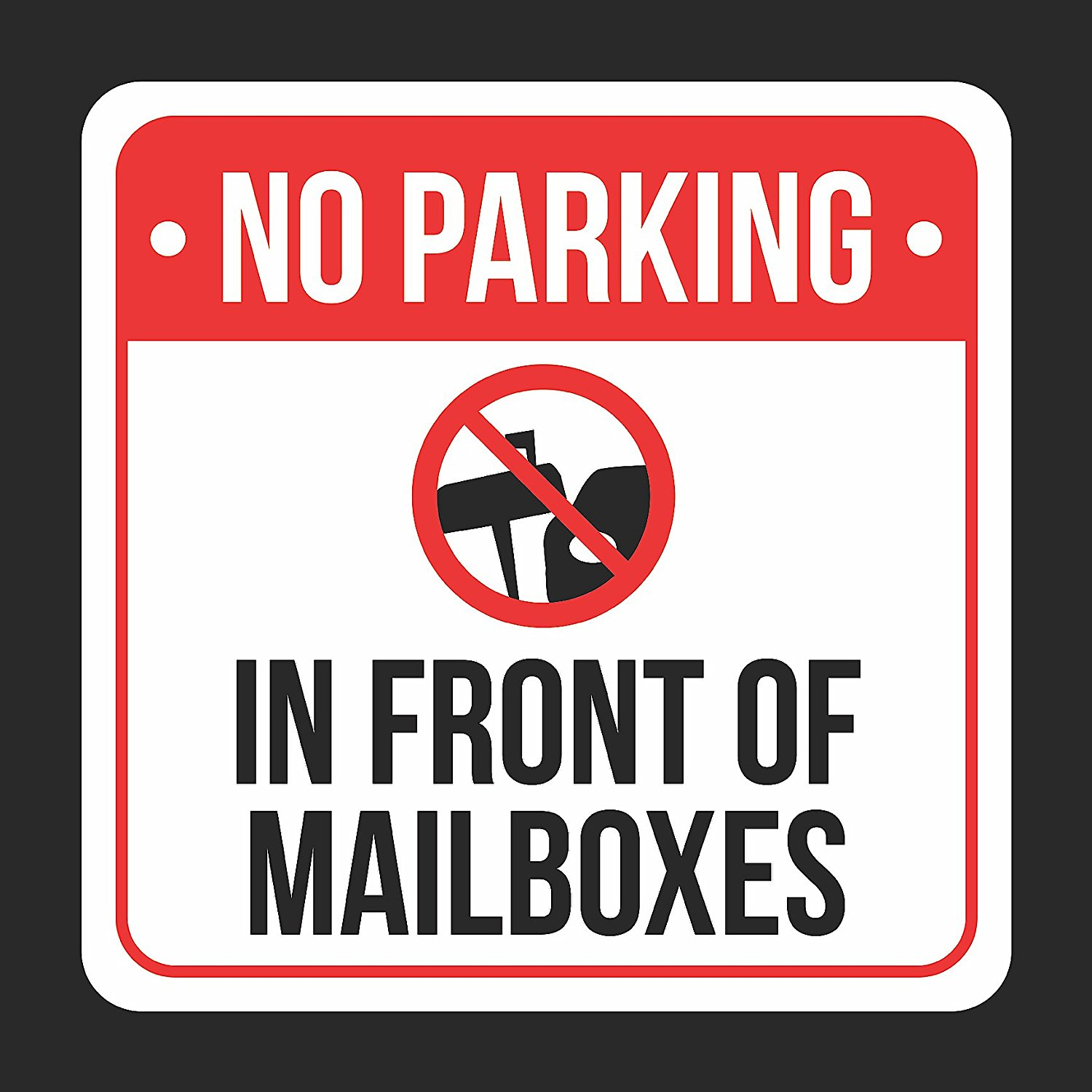 No Parking in Front of Gate Large Print Red Black White Poster Car Picture Symbol Notice Business Home Sign 12x18