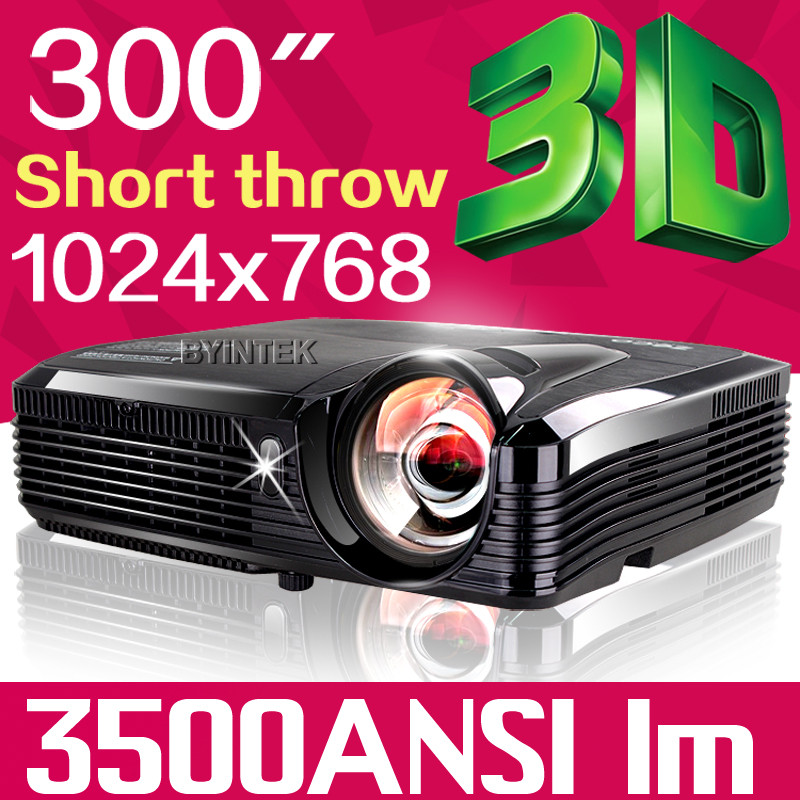 Short throw 1024*768 300inch 3500 ANSI lumens Education Home theater Digital HD 1080P Video 3D DLP Projector