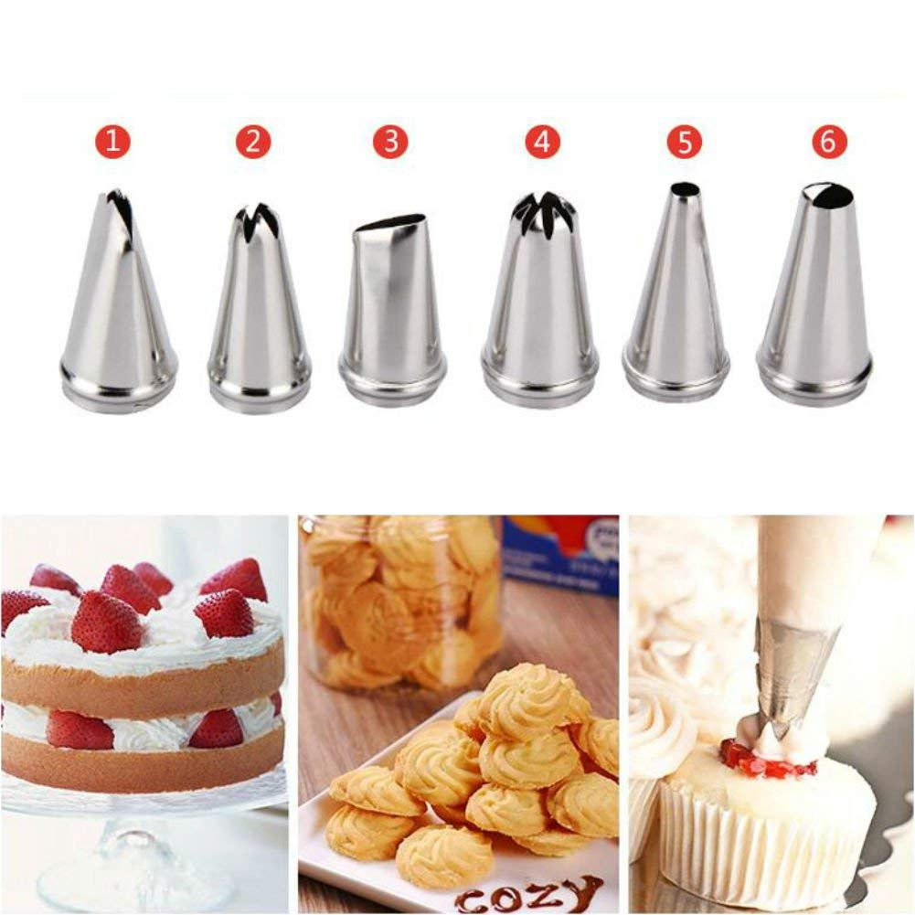AKOAK 6 Pcs/Set Russian Tulip Icing Piping Nozzles Stainless Steel Cake Decoration Decor Tips Cooking Tools