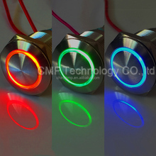 Metal Anti vadnal Waterproof IP67 12V 24v Three color RGB Red Blue Green Angel eye illuminated Led Signal Indicator Lamp Light