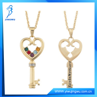 14kt Gold-Plated Silver Birthstone Key Heart Necklace Chain