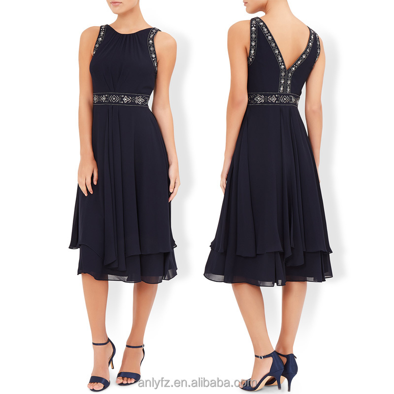 Sleeveless ladies hand embroidery cocktail party chiffon dresses