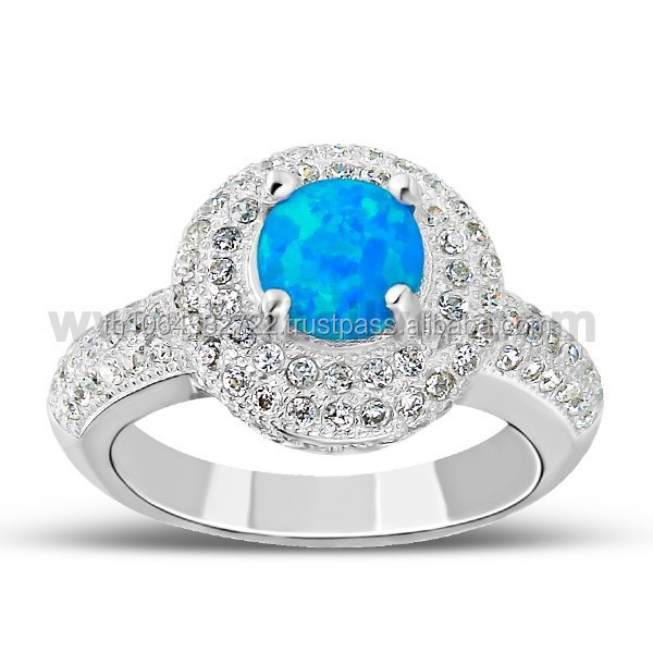 High Quality Cubic Zirconia Pave Setting Australian Blue Fire Opal 925 Sterling Silver Ring Wholesale