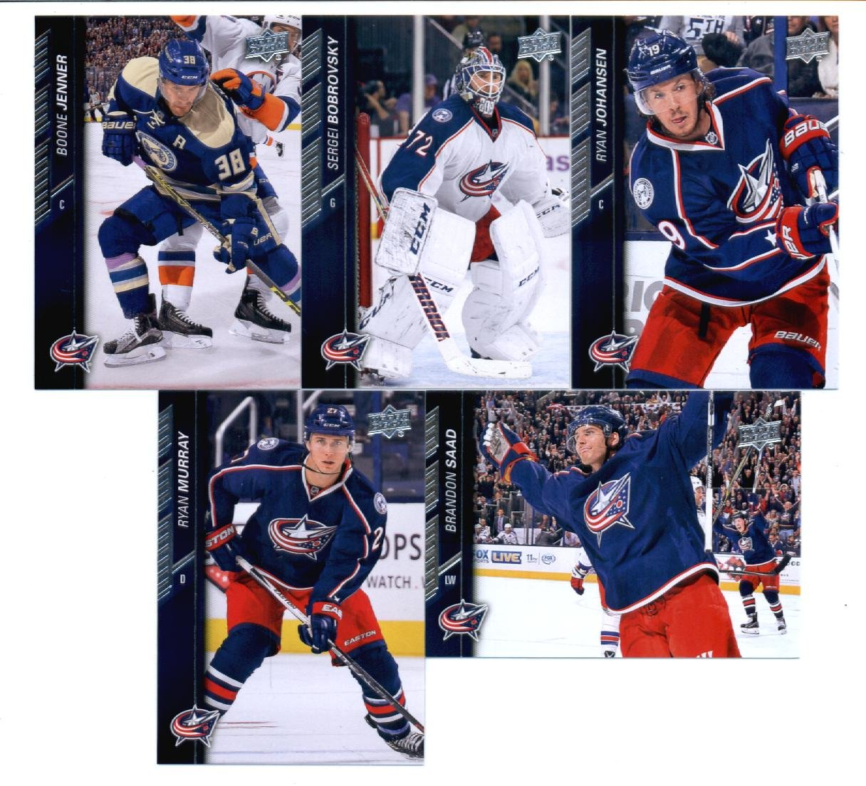 2015-16 Upper Deck Columbus Blue Jackets Hockey Master Team Set of 12 Cards: Brandon Dubinsky(#50), Cam Atkinson(#51), David Savard(#52), Jack Johnson(#53), Matt Calvert(#54), Scott Hartnell(#55), Nick Foligno(#56), Boone Jenner(#306), Brandon Saad(#307), Sergei Bobrovsky(#308), Ryan