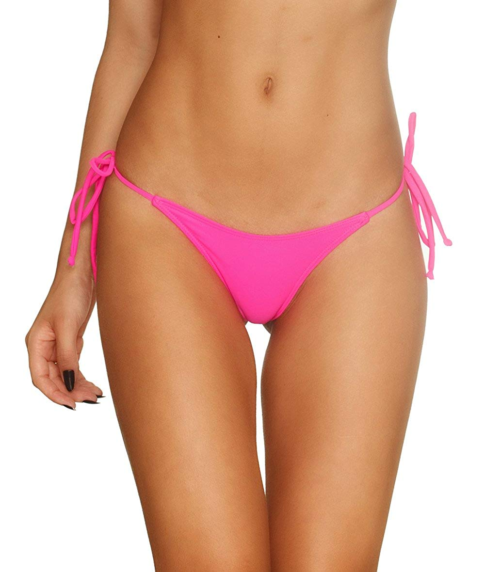 41fbf07049cfa Get Quotations · Coqueta Sexy Teeny Mini Brazilian Bikini Thong Swimsuit  Bottom Swimwear HOT PINK-LARGE